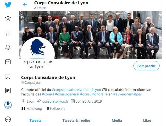 Compte Twitter officiel du Corps Consulaire de Lyon